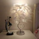 Ball Feather Night Stand Light Modern 1 Head Red/Blue/White Table Lamp with Crystal Accent for Girls Room