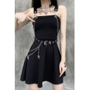Cool Women's A-Line Dress Ring Chain Detailed Strapped Solid Color Square Neck Sleeveless Regular Fitted A-Line Dress with Buckle Belt