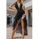 Trendy Women's Asymmetrical Dress Lace Tiered Ruffles V Neck Sleeveless Backless Fitted Asymmetrical Dress