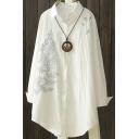 Womens Shirt Chic Leaf Embroidery Curved Hem Button up Turn-down Collar Tunic Loose Fit Long Sleeve Shirt