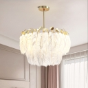 Feather Layers Pendant Chandelier Contemporary 3 Bulbs Hanging Ceiling Light in Gold for Bedroom