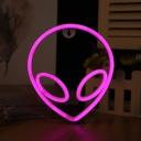Alien Head Childrens Bedroom Night Light Plastic Kids Style LED Wall Lamp in White, Blue/Pink Light