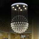Sphere Ceiling Flush Mount Light Modern Crystal Orb 3/5/14-Bulb Living Room Flush Light in Stainless Steel