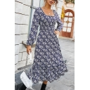 Fancy Empire Waist Dress Ditsy Floral Pattern Pleated Shirred Stringy Selvedge Bishop Sleeves Square Neck Empire Waist Dress for Women