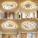 Cartoon Cloud/Star/Penguin Ceiling Flush Acrylic Kids Bedroom LED Flush Mount Recessed Lighting in White