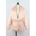 Winter Cozy Solid Color Open Front Long Sleeve Hip-Length Faux Fur Coat