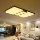 Beige Extra-Thin Rectangle Ceiling Flush Minimalism 17