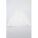 Womens Shirt Casual Bear-Frill Trim Button down Loose Fit Short Sleeve Doll Collar Shirt in White