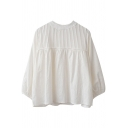 Novelty Womens White Shirt Plain Pleated Panel Crew Neck Loose Fit Long Sleeve Pullover Shirt