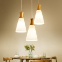 Conical Frosted White Glass Pendant Lamp Nordic 1/3-Head Wood Hanging Light Kit with Round Canopy
