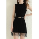 Stylish Women's Sweater Dress Tassel Hem Detailed Solid Color Rib Knitted Round Neck Sleeveless Slim Fitted Sweater Dress