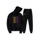 Mens Co-ords Fashionable Letter Sisters Print Loose Fitted 7/8 Length Tapered Pants Long Sleeve Hoodie Jogger Co-ords