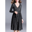 Womens Dress Fashionable Bright Silk Knitted Tie-Waist Long Sleeve Knee Length Slim Fitted Surplice V Neck Pleated Dress