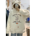 Classic Womens Hoodie Rabbit Carrot Letter Embroidery Thickened Lamb Wool Ear-Hood Drawstring Long Sleeve Relaxed Fitted Hoodie
