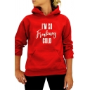 Relaxed Long Sleeve Letter I'M SO COLD Printed Cozy Hoodie