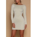 New Stylish Boat Neck Long Sleeve Plain Crisscross Hollow Out Back Mini Bodycon Dress
