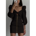 Fancy Women's A-Line Dress Hollow out Twist Front Lace up Design Puff Sleeves Slim Fitted Short A-Line Dress