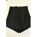 Womens Shorts Trendy Chain Decorated Stretch A-Line High Waist Slim Fitted Relaxed Shorts