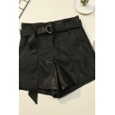 Vintage Womens A-Line Shorts Belted Sewing Dart Wide Leg High Waist Regular Fitted PU Shorts