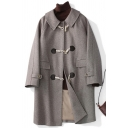 Casual Women's Trench Coat Plain Button Designed Flap Pockets Long Sleeves Midi Trench Coat