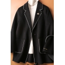 Womens Coat Creative Contrast Trim Pockets Double-Sided Woollen Button Detail Long Sleeve Notched Lapel Collar Loose Fit Wool Coat