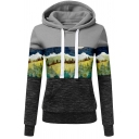 Novelty Womens Hoodie Tree Hill Print Color Block Panel Drawstring Kangaroo Pocket Long Sleeve Slim Fitted Hooded Sweatshirt