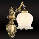 1-Light Wall Mount Lighting Traditional Floral Cream Glass Wall Light in White/Bronze with Carved Arm
