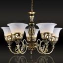 5 Lights Hanging Pendant Traditional Flared Alabaster Glass Chandelier Lighting in Bronze