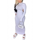 Vintage Womens Dress Solid Color Cut-out Back Long Sleeve Maxi Slim Fitted Mock Neck Bodycon Dress