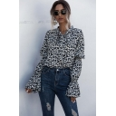 Classic Womens Shirt Leopard Skin Print Slim Fitted Tie Neck Long Flounce Sleeve Pullover Shirt