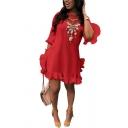 Womens Dress Trendy Plain Pleated Ruffle Detail Crew Neck Half Flounce Sleeve Regular Fitted Mini Asymmetric Dress