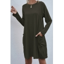 Casual Womens T-Shirt Dress Solid Color Front Pockets Round Neck Long Sleeves Regular Fitted T-Shirt Dress