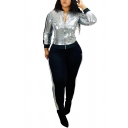 Fancy Women's Set Glitter Sequined Detail Patchwork Contrast Trim with Pocket Long Pants Co-ords