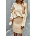 Leisure Women's Co-ords Cable Knit Solid Color Round Neck Long Sleeves Regular Fitted Pullover Sweater with Skirt Two Piece Set