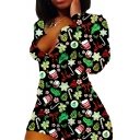 Creative Womens Romper Christmas Candy Cane Bowknot Snowflake Pattern Long Sleeve Split Neck Regular Fitted Romper