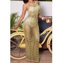 Womens Dress Trendy Open-Knit Side High-Slit Crew Neck Sleeveless Slim Fitted Maxi Bodycon Beach Dress