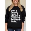 Stylish Women's Sweatshirt Letter Grey Yang Katev Stevens Omalley Shepherd Burke Pattern Round Neck Long Sleeves Regular Fitted Sweatshirt