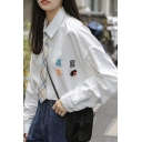 Womens Shirt Trendy Letter Applique Button down Loose Fit Long Sleeve Point Collar Shirt with Plaid-Tie