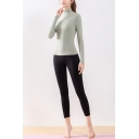 Retro Womens Co-ords Stretch Skin Affinity Skinny Fitted Leggings Mock Neck Long Sleeve Tee Yoga Co-ords