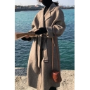 Stylish Womens Coat Zigzag Stich Knitted Notched Collar Open Front Long Sleeved Regular Fitted Woolen Coat with Belt