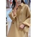 Cute Women's Coat Solid Color Pearl Button Design Pockets Turn-down Collar Long Sleeves Regular Fitted Woolen Coat