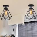 Diamond Cage Iron Ceiling Mount Light Loft Style 1-Head Bathroom Semi Flush Mount in Black