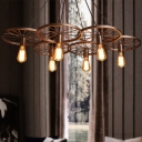 Rust 3/6 Bulbs Chandelier Lighting Farmhouse Wrought Iron Wheel Ceiling Pendant Lamp