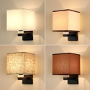 Beige/Coffee/White Square Wall Light Contemporary 1-Light Fabric Sconce Lighting with Ceramic Ornament