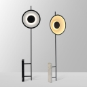 Designer Concentric Round Floor Light Metal Bedside LED Floor Lamp in Black/White with Marble Stand
