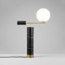 Lever Night Table Light Designer Cream Ball Glass 1-Light Black Nightstand Lamp with Marble Base