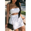 Retro Womens Dress Solid Color Cut-out Front Mini Slim Fitted Strapless Sleeveless Bodycon Dress