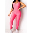 Stylish Women's Jumpsuit Solid Color Scoop Neck Sleeveless Backless Slim Fitted Jumpsuit