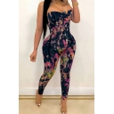 Fancy Women's Jumpsuit Tie Dye Graffiti Printed Strap off the Shoulder Sleeveless Slim Fitted Jumpsuit