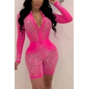 Party Style Womens Romper Sequined Glitter Detailed Mesh Gauze Patchwork Contrast Panel Zip Collar Long Sleeves Slim Fitted Romper
